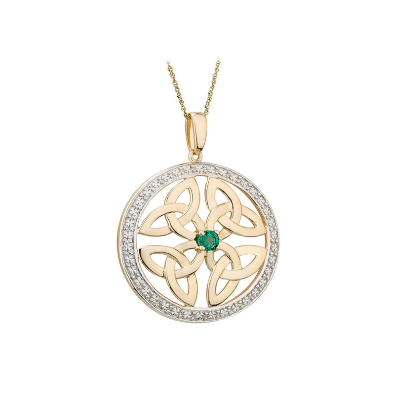 Celtic Knot Emerald Pendant, Yellow Gold