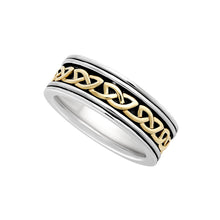 Load image into Gallery viewer, Wide Celtic Weave Band, Sterling Silver and Yellow Gold