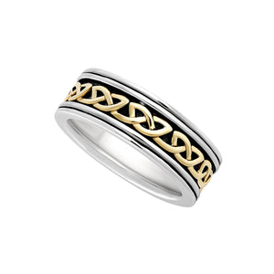 Wide Celtic Weave Band, Sterling Silver and Yellow Gold