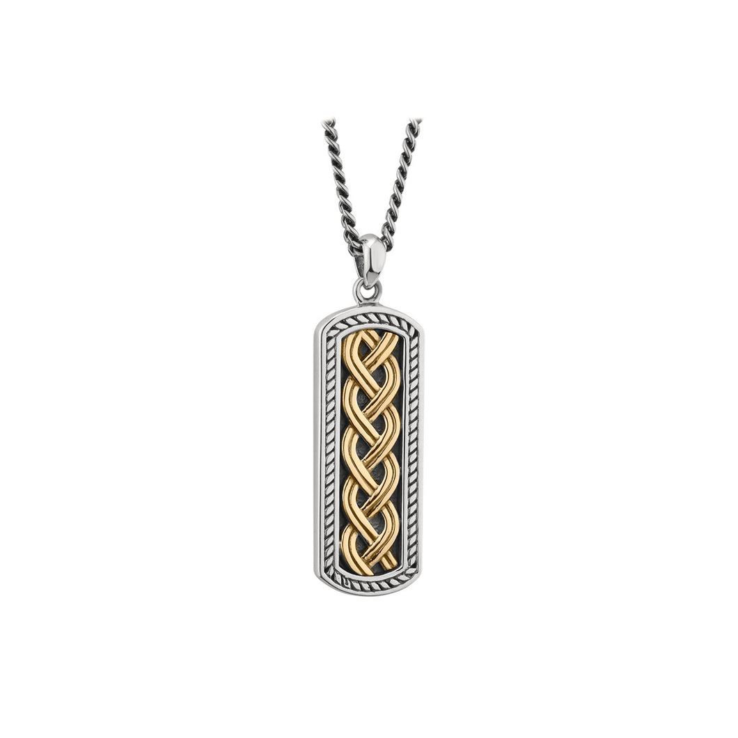 Celtic Weave Pendant, Sterling Silver & Yellow Gold