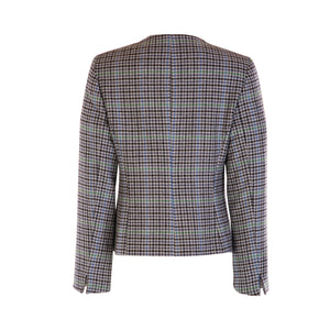 Chanel Style Tweed Jacket - Blue Houndstooth
