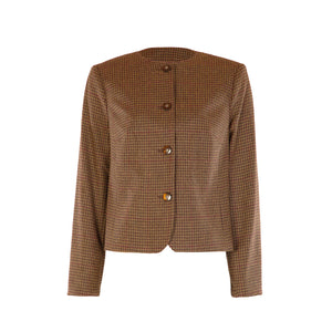 Chanel Style Tweed Jacket - Brown/Wine Houndstooth