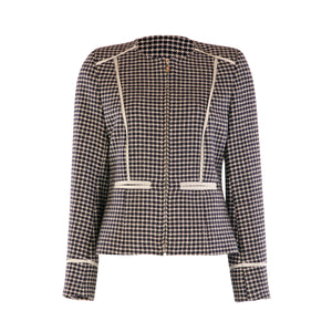 Fitted Chanel Style Tweed Jacket - Navy Houndstooth