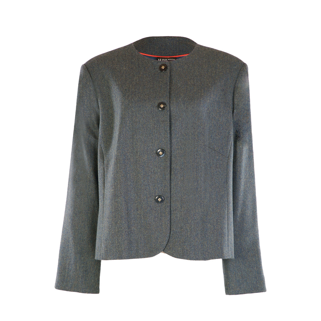Chanel Style Tweed Jacket - Teal Herringbone
