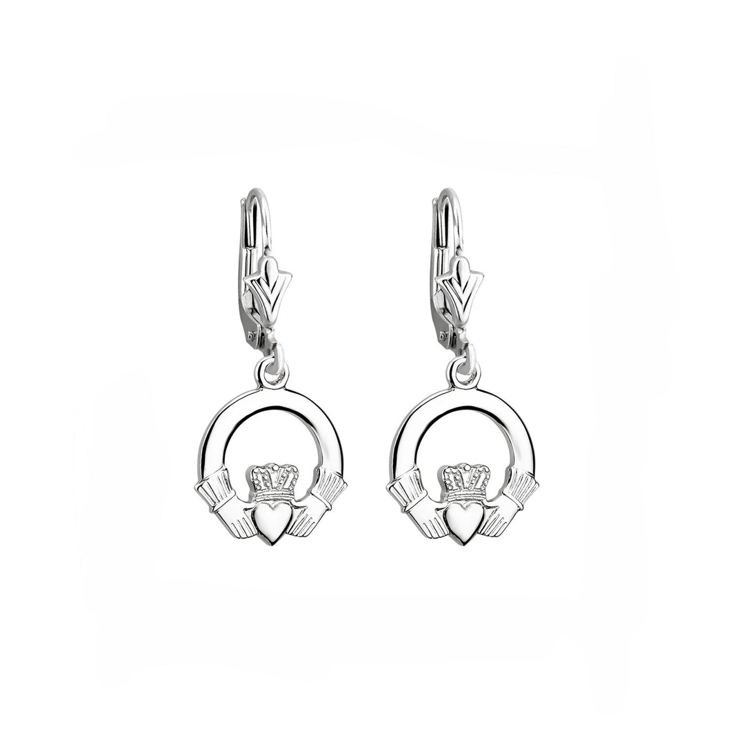 Claddagh Drop Earrings, White Gold