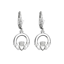 Load image into Gallery viewer, Claddagh Drop Earrings, White Gold