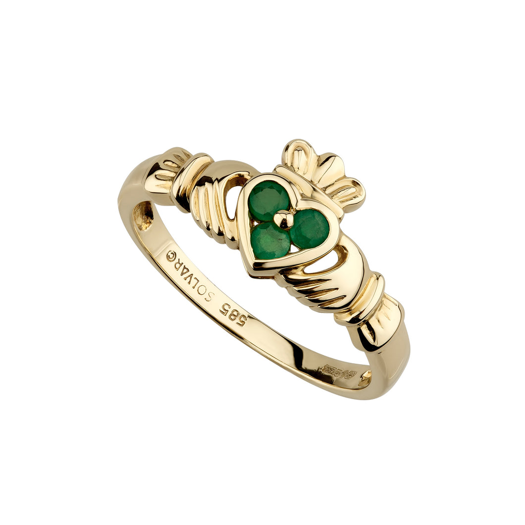 Emerald Heart Claddagh Ring, Yelow Gold