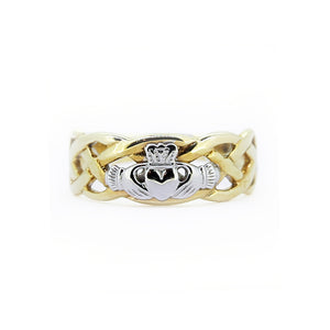 Claddagh Two Tone Woven Ring, Yellow Gold