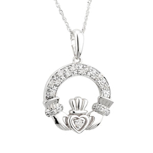 Claddagh Pendant with Diamond, White Gold