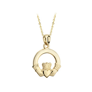 Small Claddagh Pendant, Yellow Gold