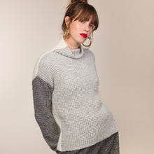 Load image into Gallery viewer, Colour Block Alpaca Waffle Stitch Sweater, Ecru/Grey