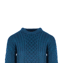 Load image into Gallery viewer, Aran Crew Neck Sweater, Petrol