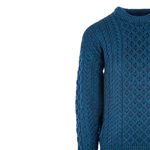 Aran Crew Neck Sweater, Petrol