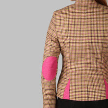 Load image into Gallery viewer, Donegal Tweed Curve Jacket - Beige & Pink Houndstooth