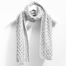 Load image into Gallery viewer, Cable Scarf, Soft Grey