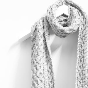 Cable Scarf, Soft Grey