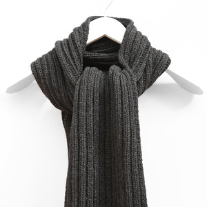 Chunky Ribbed Scarf, Charcoal Mix