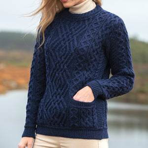 Aran Crew Neck Sweater with Pockets, Midnight Blue