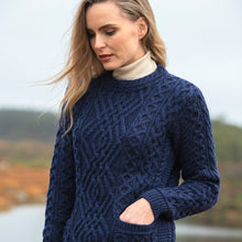 Load image into Gallery viewer, Navy Crew Neck Aran Sweater with Pockets