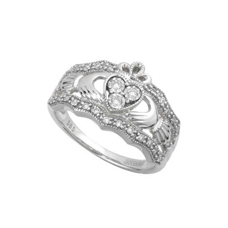 White Gold Irish Diamond Claddagh Ring