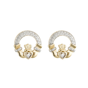 Claddagh Stud Earrings with Diamonds, Yellow Gold