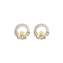 Load image into Gallery viewer, Claddagh Stud Earrings with Diamonds, Yellow Gold