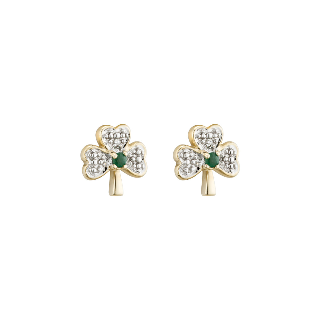 Small Shamrock Earrings with Diamond & Emerald, Yellow Gold