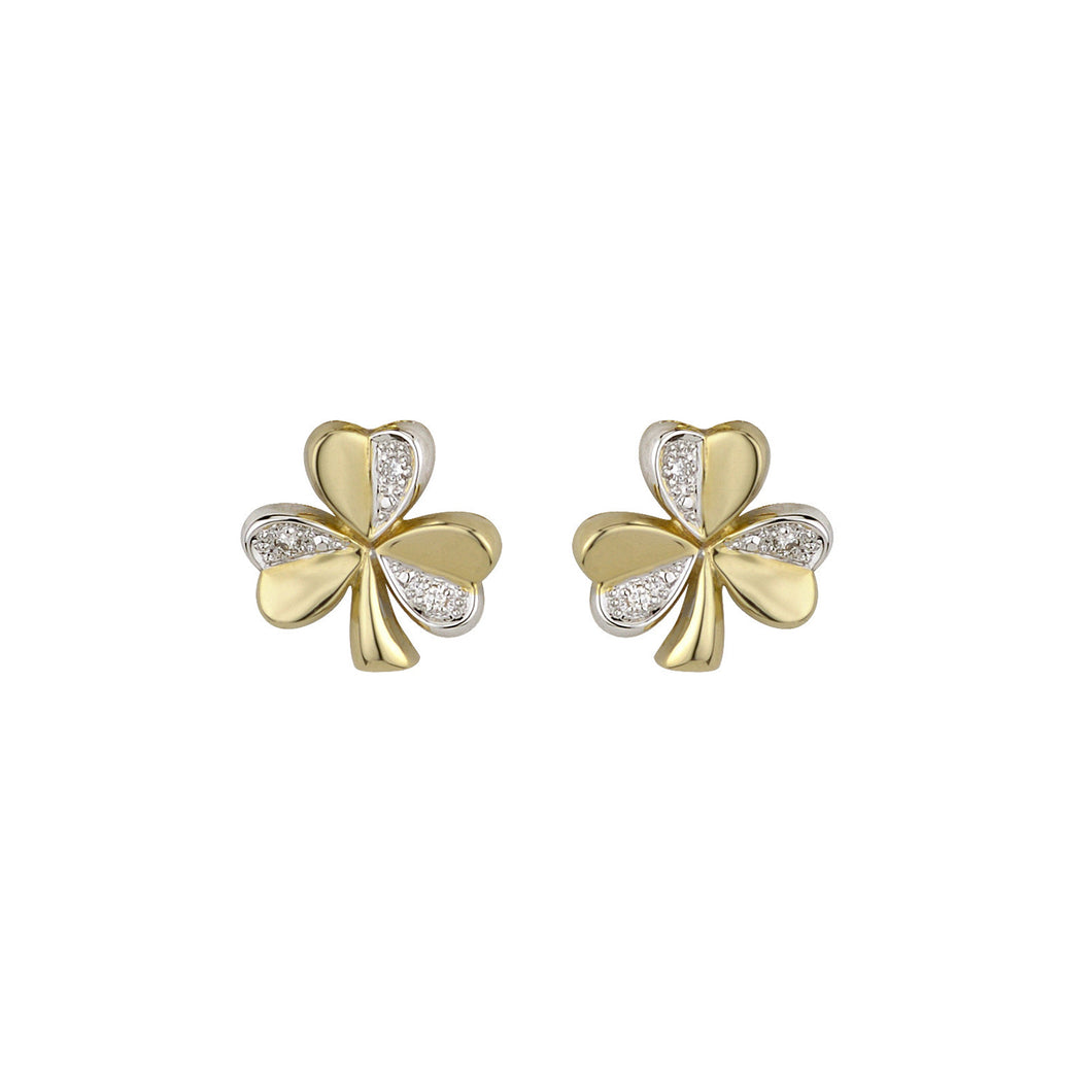 Shamrock Stud Earrings with Diamonds, Yellow Gold