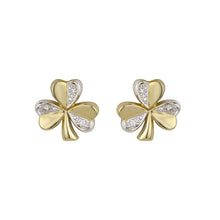 Load image into Gallery viewer, Shamrock Stud Earrings with Diamonds, Yellow Gold