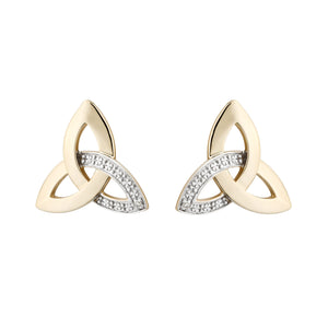 Trinity Knot Stud Earrings with Diamonds, Yellow Gold