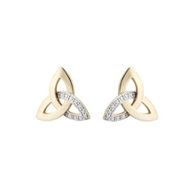 Load image into Gallery viewer, Trinity Knot Stud Earrings with Diamonds, Yellow Gold