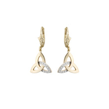 Load image into Gallery viewer, Diamond Trinity Knot Earrings, Yellow Gold