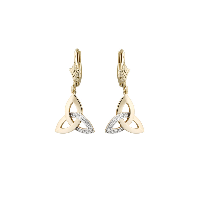 Diamond Trinity Knot Earrings, Yellow Gold