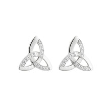 Load image into Gallery viewer, Trinity Knot Stud Earrings with Diamonds, White Gold