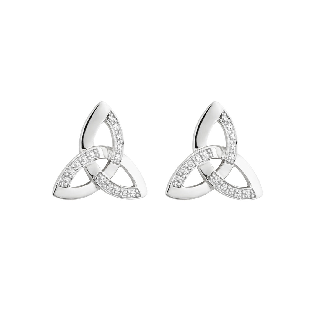 Trinity Knot Stud Earrings with Diamonds, White Gold