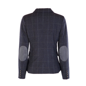Double Vent Tweed Jacket - Navy Windowpane