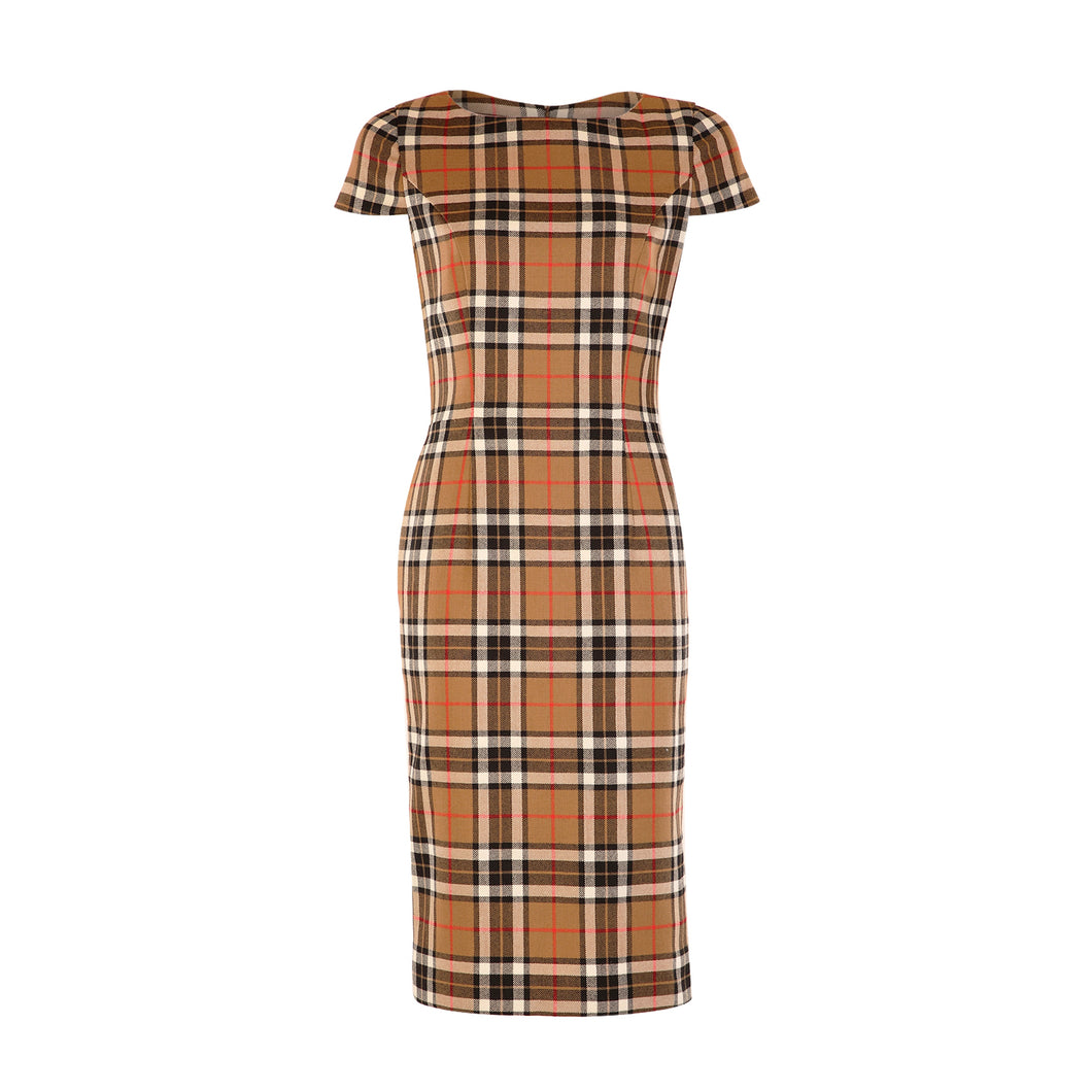 Tweed Dress - Tan Check