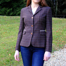 Load image into Gallery viewer, Double Vent Donegal Tweed Jacket - Brown & Beige Windowpane