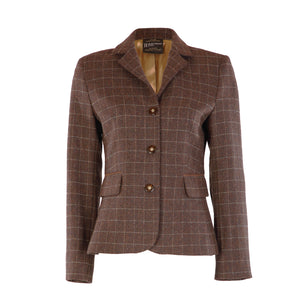 Double Vent Donegal Tweed Jacket - Brown & Beige Windowpane