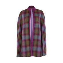 Load image into Gallery viewer, Edge to Edge Cape with Suedette Trim - Purple & Green & Navy Check