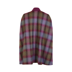 Edge to Edge Cape with Suedette Trim - Purple & Green & Navy Check