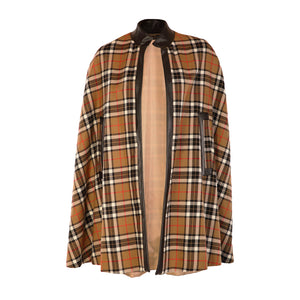 Edge to Edge Tweed Cape - Tan Check