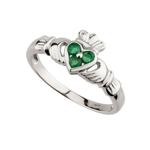 Load image into Gallery viewer, Claddagh Ring with Emerald, White Gold