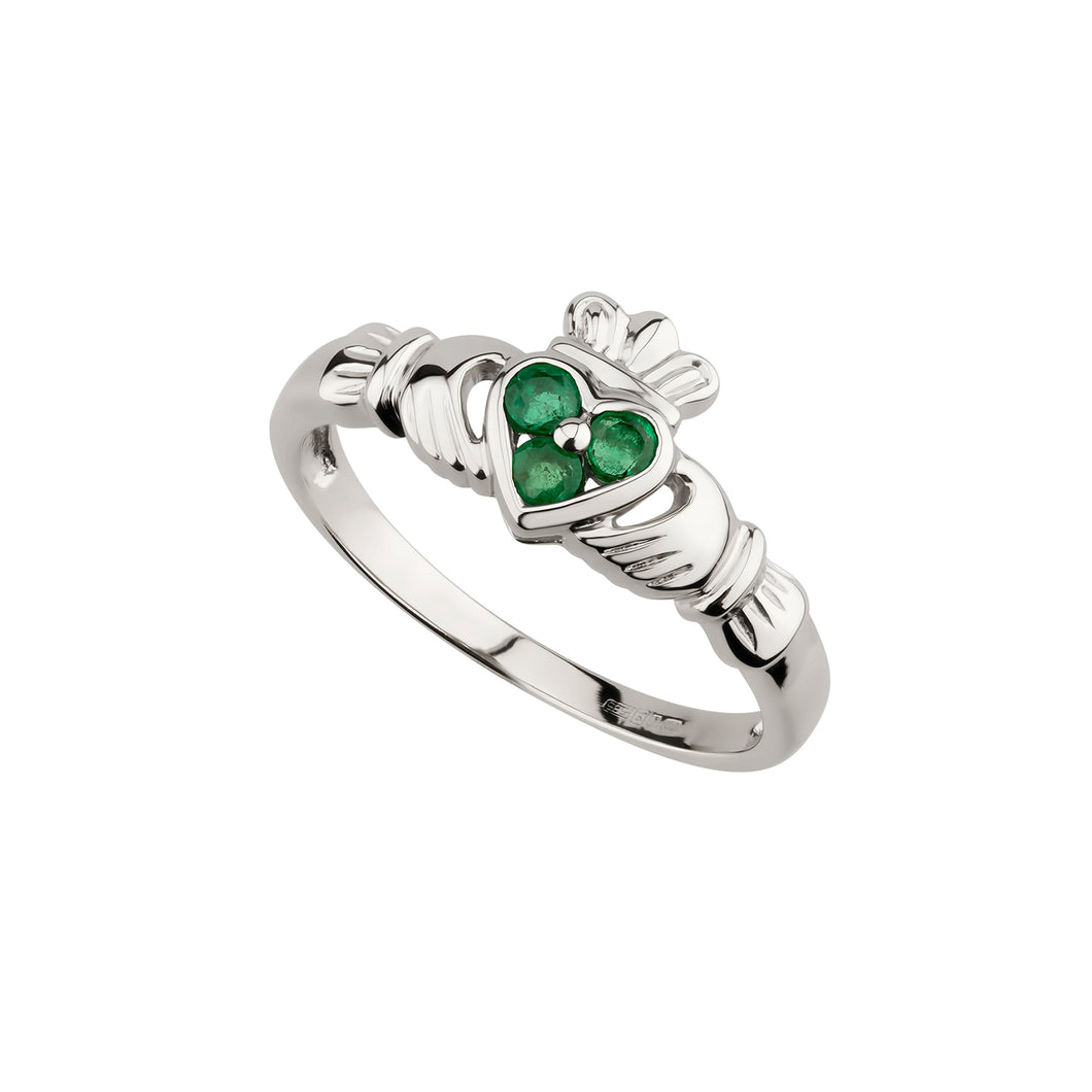 Claddagh Ring with Emerald, White Gold