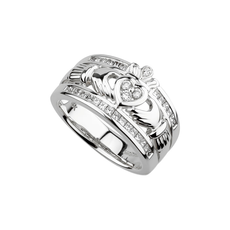 The Emigration Claddagh Ring, White Gold
