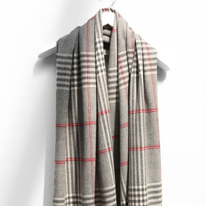 Extra Fine Oversized Merino Scarf, Grey Cream Red Check