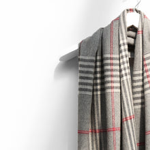 Load image into Gallery viewer, Extra Fine Oversized Merino Scarf, Grey Cream Red Check