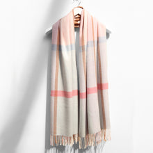 Load image into Gallery viewer, Extra Fine Oversized Merino Scarf, Blue & Pink Check