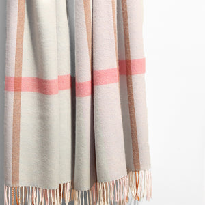 Extra Fine Oversized Merino Scarf, Blue & Pink Check