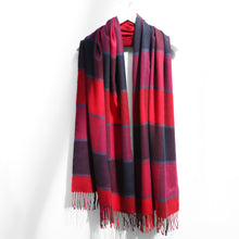 Load image into Gallery viewer, Extra Fine Oversized Merino Scarf, Navy Red Purple Block